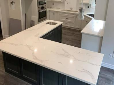 White granite L table