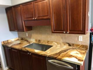 brown marble kitchen countertop