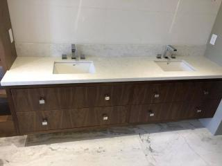 double sink granite countertop bathroom