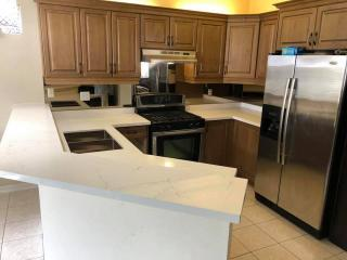 white granite angle countertop